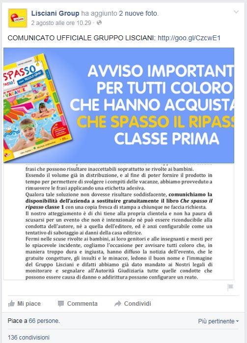 Pagina Facebook con il comunicato del Gruppo Lisciani