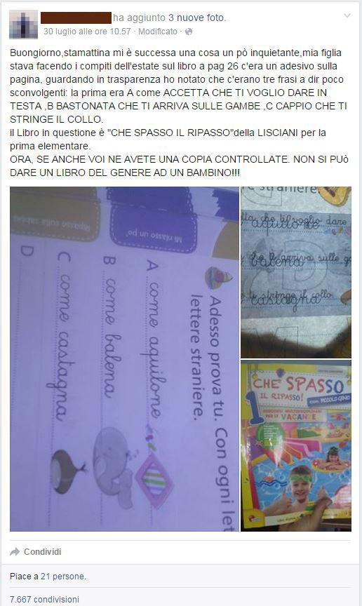 Post in Facebook di denuncia dell'errore in Che spasso il ripasso del Gruppo Lisciani