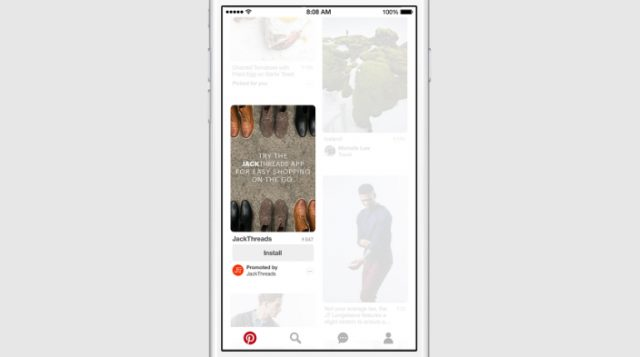 Pinterest lancia i Pin sponsorizzati per le app