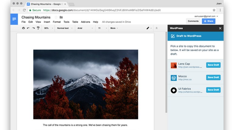 Estensione WordPress per Google Docs