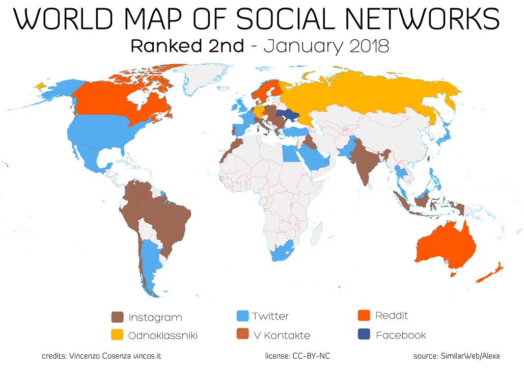 La mappa dei social network nel mondo - ranked second