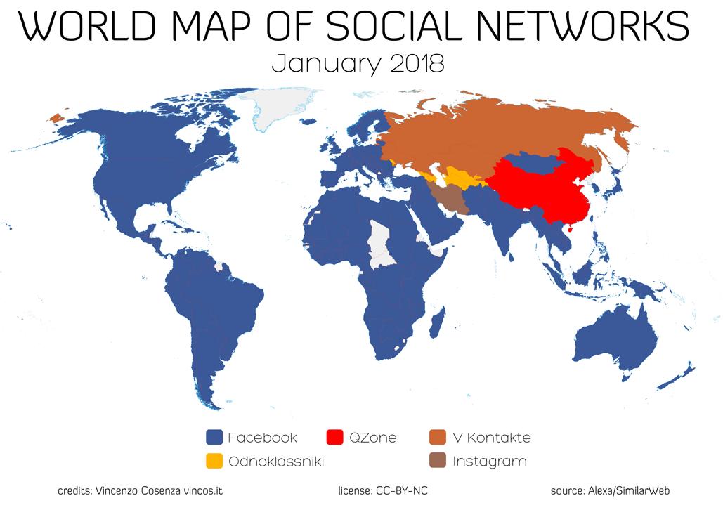 La mappa dei social network nel mondo