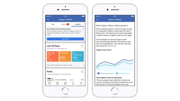 L'ultimo aggiornamento di Facebook sugli Insights delle Pagine