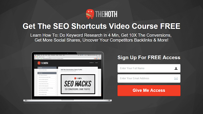 Landing page per lead generation di The Hoth