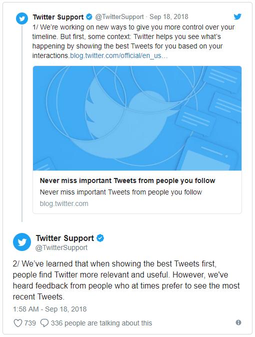 L'annuncio della reintroduzione dell'ordine cronologico in Twitter