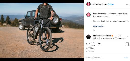 Schwinn, comunicazione su Instagram