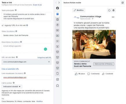 Esempio inserzione Facebook per portare clienti a un punto vendita