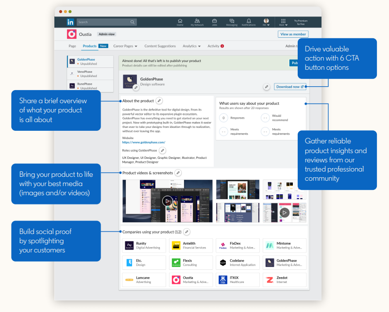 LinkedIn Product Pages o Pagine Prodotto