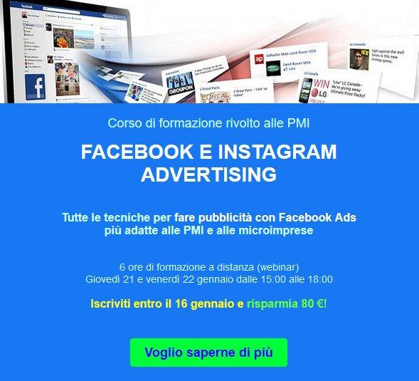 Corso Facebok e Instagram Advertising