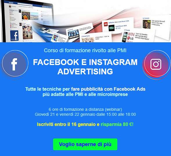 Corso Facebook e Instagram Advertising
