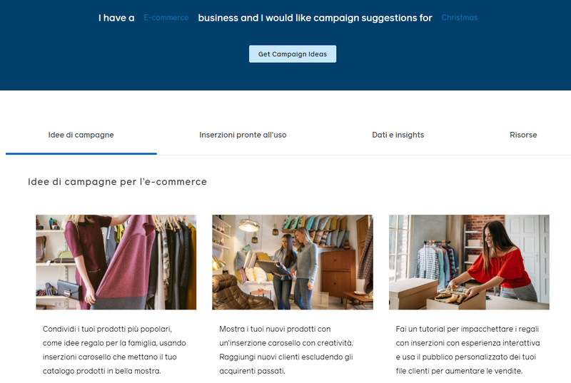 Campaign Ideas Generator di Facebook, settori di mercato e occasioni
