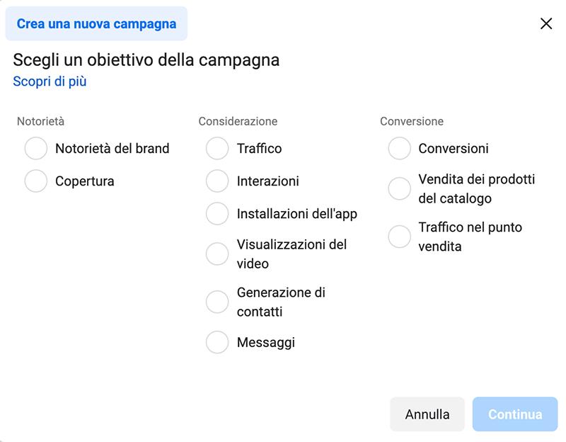 Errori Facebook Ads_Obiettivi