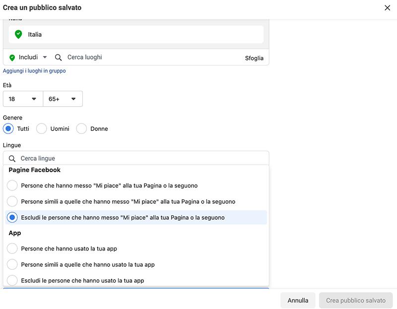 Consigli Facebook Ads_esclusione fan