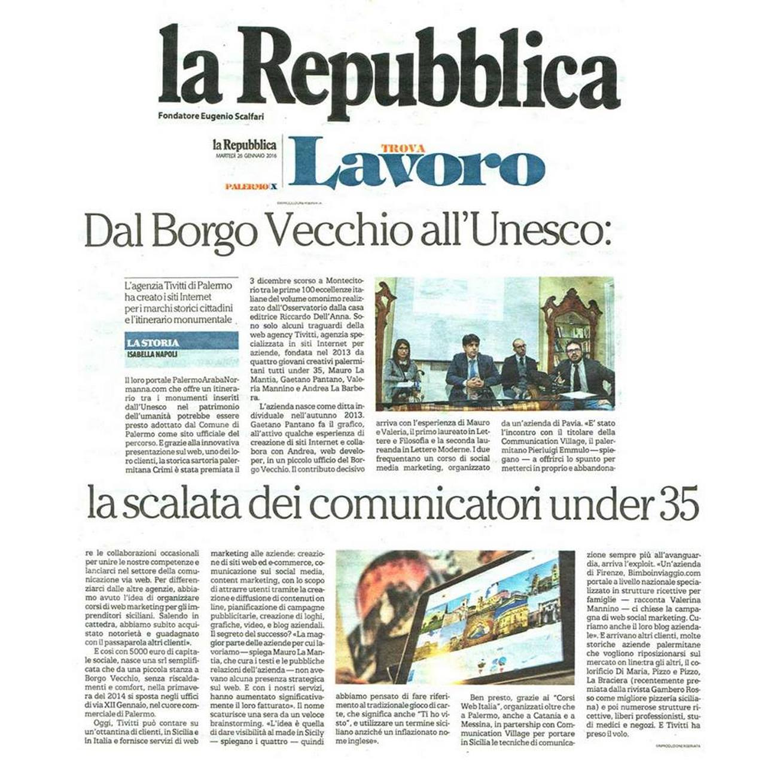 L'articolo di Repubblica che parla di Tivitti, la web agency nata grazie alla formazione di Communication Village